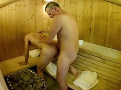 British Daddy Boy Homemade Amateur Sauna Fuck Bareback