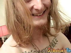 Tattooed thug grabs his hard dick and masturbates solo