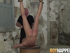 Wild gay Sebastian Kane tied up and spanked cute young twink