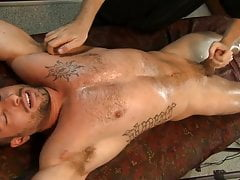 James Bennett bends over the sofa showing his tight ass hole