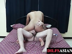 Asian twink blows mature dick before breeded from all sides